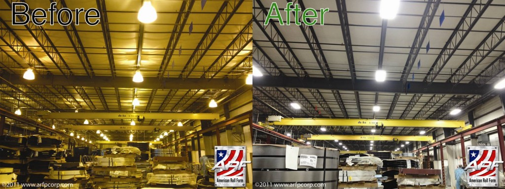 Energy efficient and beautiful lighting before and after picture from Callendar Blvd American Roll Form Products Facility