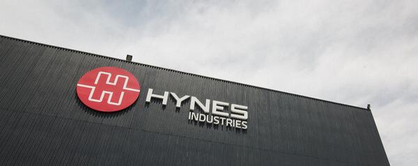 Hynes Industries logo on building at headquarters in Youngstown, Ohio.